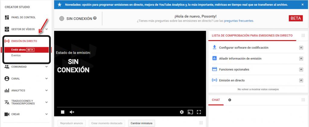 emitir en directo youtube